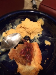 Horrible picture, but I forgot to take a better one. This is homemade pumpkin ice cream (on top of a pecan pie).