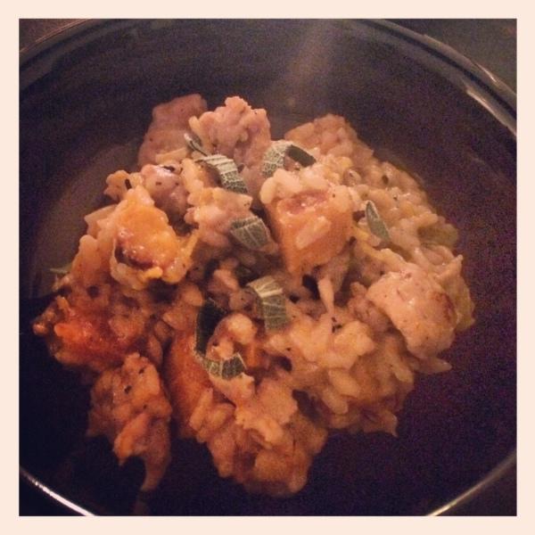 Chicken-sausage, butternut squash risotto