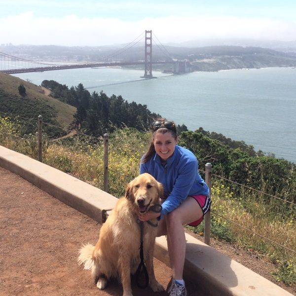 Rugby and I with the Golden Gate